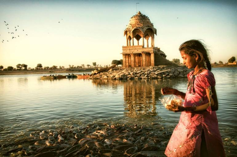 In India, a girl feeds bread to catfish every morning as her first act of goodness for the day.