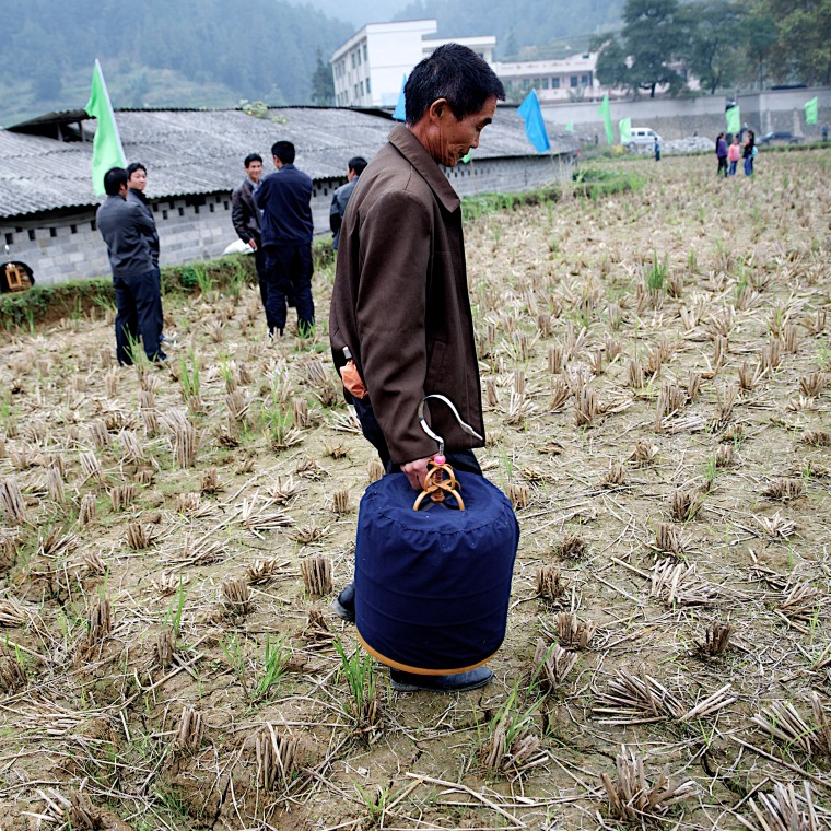 At the Tasting New Rice Festival in Gaoding, a man carries his songbird across a harvested field.