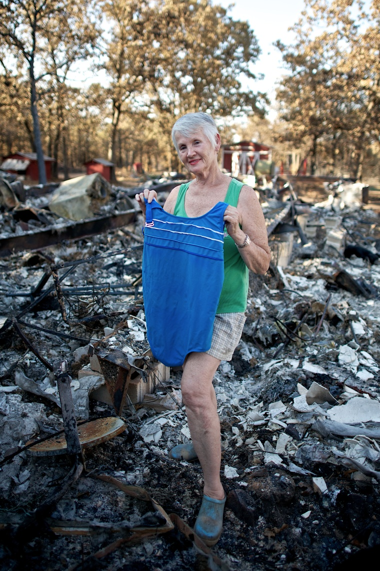 When fire blazed through her mobile home, Tammy Teeters made sure to grab her swimsuit.