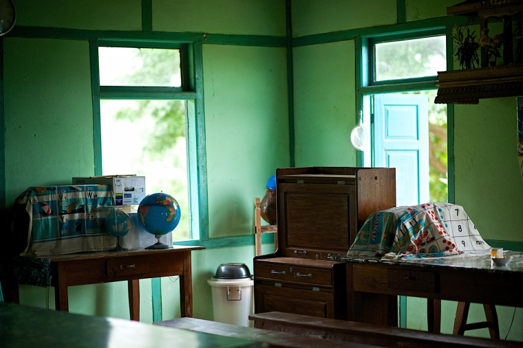 An empty classroom awaits students in Kazat, Myanmar.