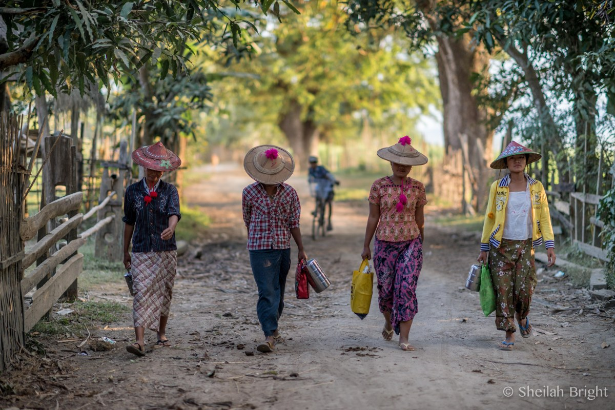 Field workers walk home after harvest in a village along Myanmar's Chindwin River.