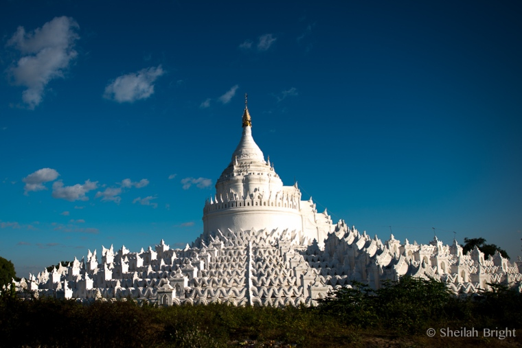 The Hsinbyume Pagoda in Mingun attracts devotees and tourists to its stark beauty.