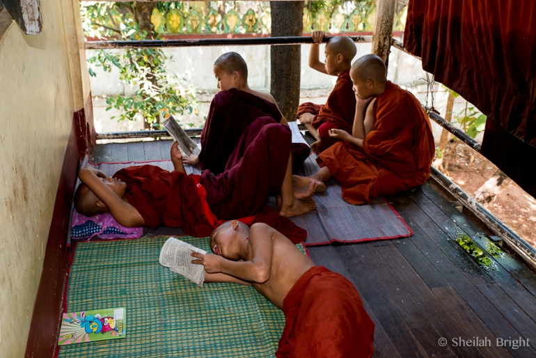 Monastery students tackle require reading but keep a comic book close at hand.